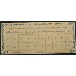 1931 Depression Script, Burlington Iowa.