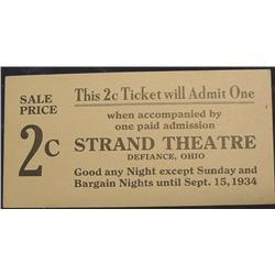 1934 Defiance Ohio, Strand Theatre 2c