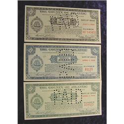(3) 1933 Depression Script, Atlantic Co. NJ.