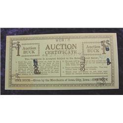 1933 Iowa City, Iowa.Auction Bucks.