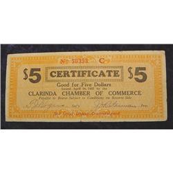 1933 Clarinda Iowa $5. Certificate..