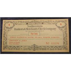 1907 Plaza ND. 4c Merchants Check.