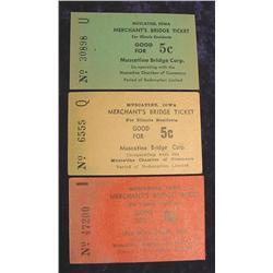 (3) Muscatine, Iowa Merchants Bridge Ticket