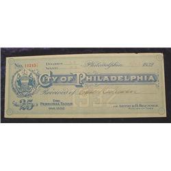 1932 Depression Script. Philadelphia, Pa.