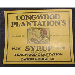 Longwood Plantations Syrup Lable.