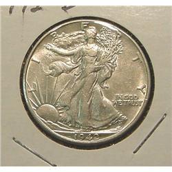 1942D Walking Liberty Half Dollar. AU.