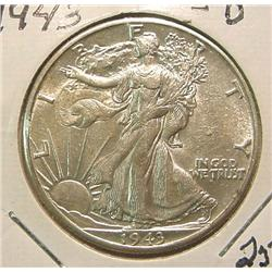 1943D Walking Liberty Half Dollar. AU.