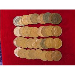 (10) Indian & (25) Wheat Cents. Circulated