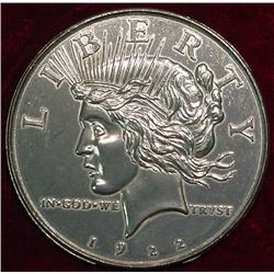 "1922 Peace Dollar. 3"" Coaster."