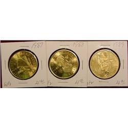 1987, 88 & 89 Emmetsburg Irish Medals.