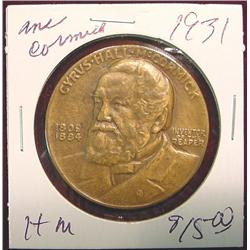 1931 Cyrus McCormick Bronze Medal.