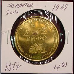 1969 Scranton, Iowa Centennial Medal.