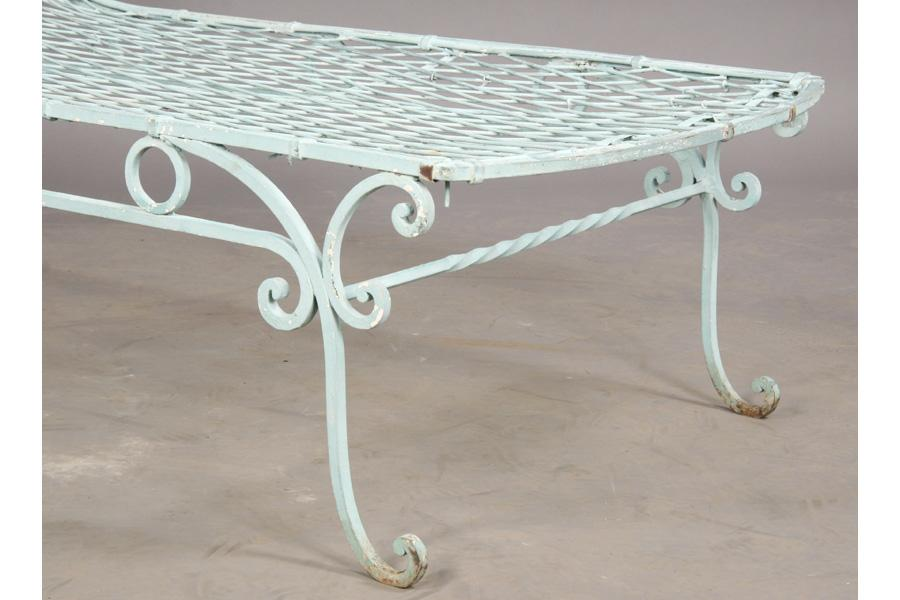 VINTAGE WROUGHT IRON FRENCH GARDEN CHAISE LOUNGE