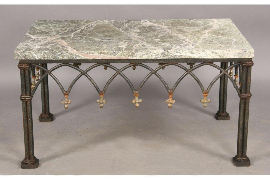 Admirable Marble Top Coffee Table Gothic Wrought Iron Base Download Free Architecture Designs Xerocsunscenecom