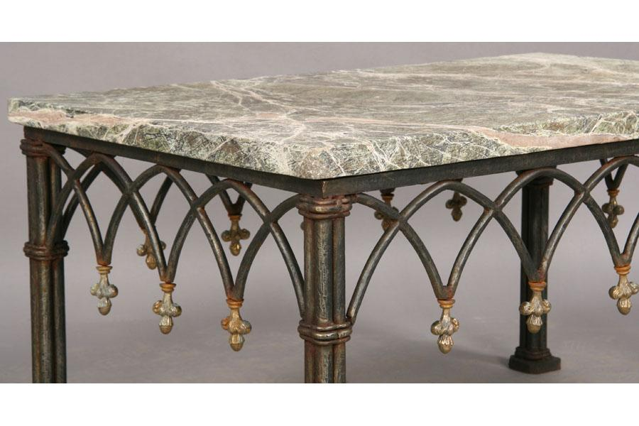 Excellent Marble Top Coffee Table Gothic Wrought Iron Base Gmtry Best Dining Table And Chair Ideas Images Gmtryco