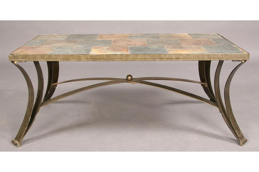 Incredible Wrought Iron And Slate Coffee Table Inset Stone Beatyapartments Chair Design Images Beatyapartmentscom