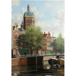 George Jan Dispo (German, 1922-1973) St. Nicolas Kerk, Amsterdam, Oil on canvas,