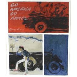 Jill Benjamin (American, b. 1924) Go America Go, Oil on canvas laid on board,