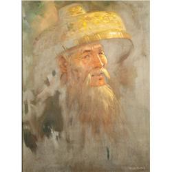 Chan (20th Century) Portrait of a Bearded Man, Oil on board.