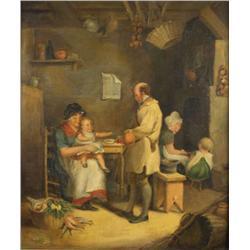 After Sir David Wilkie (British, 1785-1841) Interior Scene, Oil on board,