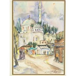 Nehemia Stenzel (Poland, 1904-1991) Dome of the Rock, Watercolor,