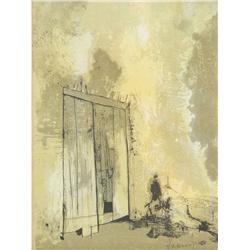 Jean Leon Jansen (French-American, b. 1920- ) Doorway, Lithograph.