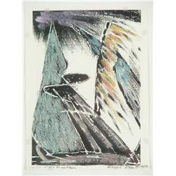 Maggie Davis (20th Century) Heart of the Mountain Hand colored woodblock print,