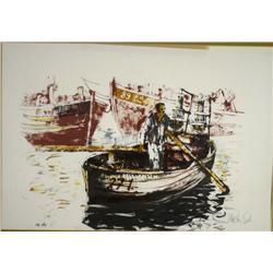 Moshe Gat (Israeli, b. 1935) Fisherman, Lithograph,