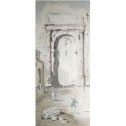 Artist Unknown, Italian Scene, Watercolor Gouache on paper,