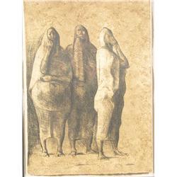 Francisco Zuniga (Latin American, 20th Century) Tres Mugeres de Pie, Color lithograph, 1983,