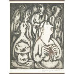 Bernarda Bryson (American, 20th Century) Medium in a Trance in Columbus, Signed lower left.