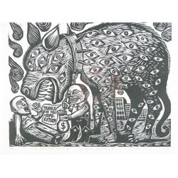 Antonio (Rodrigues) (20th Century) The Beast That Sees It All, Woodblock,