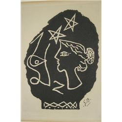 Georges Braque (French, 1882-1963) Woman and Stars, Woodcut,