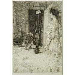 Childe Hassam (American, 1859-1935) The Breakfast Room, Etching.