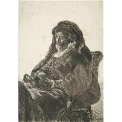 Rembrandt van Rijn (Dutch, 1606-1669) The Artist's Mother Seated, in Widow's Dress and Black Gloves,