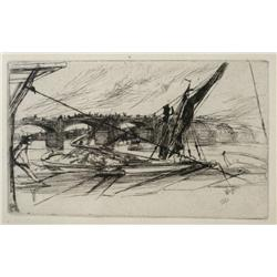 James A. McNeill Whistler (American, 1834-1903) Vauxhall Bridge, Etching on antique cream laid paper