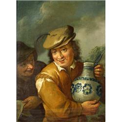 After Frans Hals (Dutch, 1582-1666) Man Holding a Jug, Oil on wood,