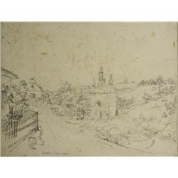 Attributed to Friedrich Philipp Reinhold, (Austrian, 1814-1881) Landscape Study, Graphite on Paper.