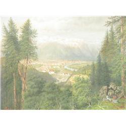 A. Todt (Austrian, 19th Century) Alpine Landscape, Watercolor gouache on paper.
