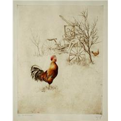 Sandy Scott (American, b.1943) Engraving of Rooster, Signed Lower Right.