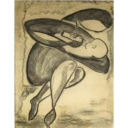 Artist Unknown, (20th Century) Mother and Child, Charcoal on paper,