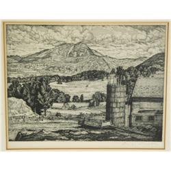 Luigi Lucioni (American, 1900-1988) Farm in the Hills, Engraving,