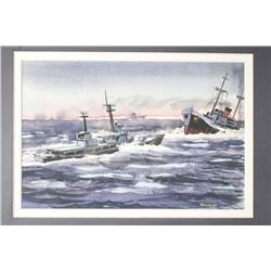 Kinley Shogren (American, 1924-1991) Ships at Sea, Watercolor study.
