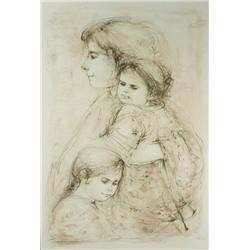 Edna Hibel (American, b.1917) Mother and Children, Lithograph,