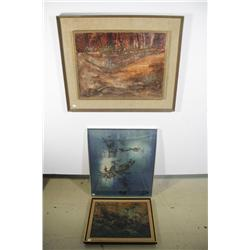 A Group of Three Framed Decorative Items,