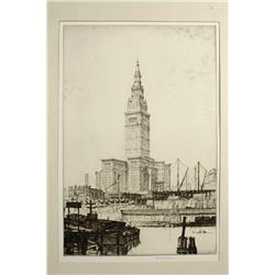 Louis Rosenberg, (American, 1890-1983) The Terminal Tower Series, Set of twenty-two etchings, 1927-1