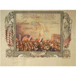 A Republique Francaise Certificate Commemorating General Marquis de Lafayette, Printed in 1927,