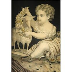 A Victorian Print of a Child and Lamb.