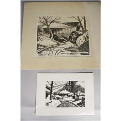 Two Woodblock Prints,