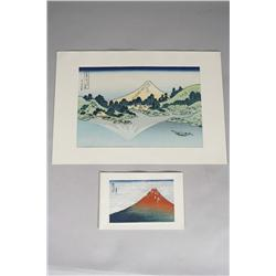 Two Woodblock Prints by Hokusai (Japanese, 1760-1849),